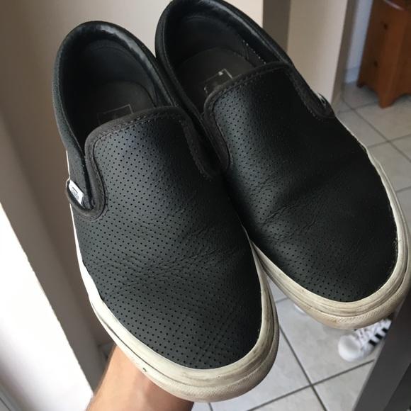 black leather van slip ons
